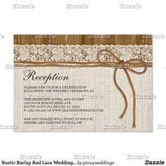 Rustic Burlap And Lace Wedding Reception Card