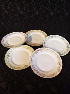 """Antique IMPERIAL AUSTRIA Hand-Painted Dessert Plates, 1914-1918, Signed by Artist, Set of 5, Pastel & Gold Trim, 6"""" Plates, Perfect! Plate Wall Decor, Plates On Wall, Afternoon Tea Parties, Dessert Plates, Cake Servings, Different Flowers, China Dinnerware, Austria, Tea Party"""