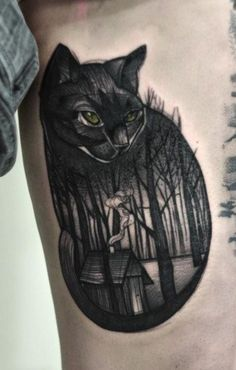 Black forest cat tattoo