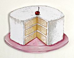Image of Coconut Layer Cake with cherry JUMBO wood diecut/sign