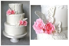 Pink & White Wedding Cake with Butterfly & Roses...Fabulous!!!  by Sugar Ruffles    http://www.sugarruffles.com/