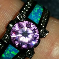 Blue opal - amethyst -rhodium ring Australian man made stones. More details to come.. Jewelry Rings