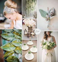 Green Wedding Ideas - Green, Silver, and Neutral Wedding Inspiration