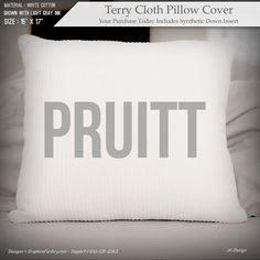 Family Name Personalized Pillow on Terry Cloth Cotton by iXiDesign#personalized #pillow #pillows #interiordesign #interior #design #custom #throwpillows #decorative #decor #FAMILY #NAME #SIGNS Personalized Pillows, Custom Pillows, Cover Size, White Cotton, Bed Pillows, Pillow Covers, Great Gifts, Names, Interior Design