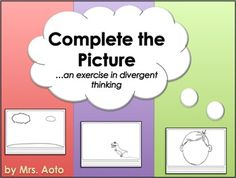 Students who are given opportunities to use divergent thinking skills are more likely to succeed in tasks such as brainstorming, inventing, writing creatively, and asking new and in-depth questions. The 41 worksheets in this file help students sharpen their divergent thinking skills by inviting them to finish coloring, or add to, a partially-completed picture. #LanguageArts #Worksheets #Art