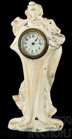 Art Nouveau Figural Seth Thomas Metal Clock : Lot 23
