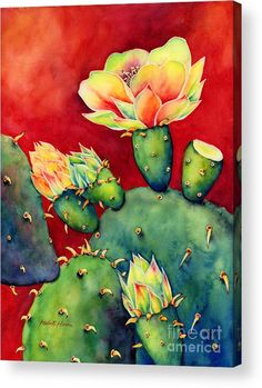 Cactus Acrylic Print featuring the painting Desert Bloom by Hailey E Herrera
