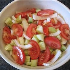 Marinated Tomato and Cucumber Salad on BigOven: Delicious light summer salad