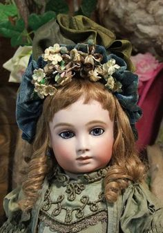 *REPRODUCTION ~ 20 inch French Halopeau Doll, dress made of antique materials.