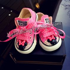 Pink Minnie Mouse Birthday Shoes, Swarovski converse