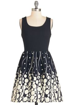 Let's Have Some Bubbly Dress - Black, Tan / Cream, Print, Casual, Twofer, Sleeveless, Woven, Mid-length, Holiday Party, Daytime Party, Party
