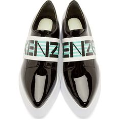 Kenzo Black Patent Leather Platform Loafers (3.583.280 VND) ❤ liked on Polyvore featuring shoes, loafers, flats, black patent leather loafers, patent leather flats, platform loafers, flat shoes and black pointy toe flats