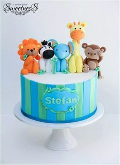 Super baby shower ideas for boys animals first birthdays Ideas Zoo Cake, Jungle Cake, Fancy Cakes, Cute Cakes, Torta Baby Shower, Safari Cakes, 1st Birthday Cakes, Novelty Cakes, Fondant Figures