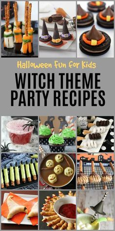 Halloween Fun for Kids with Witch Theme Party Recipes Halloween Snacks, Halloween Theme Birthday, Halloween Themed Food, Halloween Movie Night, Halloween Party Themes, Diy Halloween, Halloween Witch Decorations, Halloween Witches, Halloween 2020