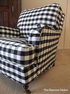 Black and white buffalo check slipcover custom made for a pretty English rolled arm chair.