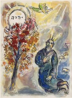 I have decided I am a lot like Moses. God has had to take me through a series of events to show me He has called me to lead in certain areas that I felt totally unqualified for. Moses and the burning bush - Marc Chagall Marc Chagall, Guernica, Jewish Art, Religious Art, Arte Judaica, Chagall Paintings, Les Fables, Burning Bush, Spiritism