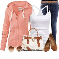 Gorgeous Pink Hoodie Outfit with pink hoodie, white top, stylish blue jeans, micheal kors designer handbag and simple leather flat shoes. Lila Outfits, Mode Outfits, Casual Outfits, Fashion Outfits, Womens Fashion, Outfits 2014, Fashionable Outfits, Fashion Clothes, Look Fashion