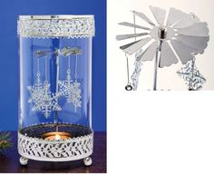Rotating Snowflake Tealight Candle Holder Decoration - This spinning snowflake carousel is propelled by the heat from a tealight candle (not incl.) flame. It creates an animated shadow show as it turns....  #Christmas