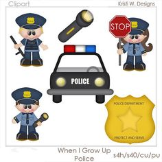 VISIT www.clipart-central.com AND USE COUPON CODE 219401fc79 FOR 25% OFF YOUR FIRST ORDER! WHEN I GROW UP POLICE IS A DIGITAL CLIPART SET. THIS