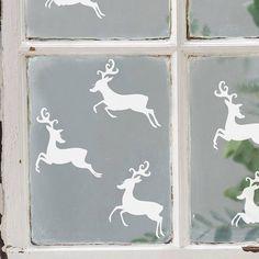 Set Of Six Reindeer Vinyl Stickers