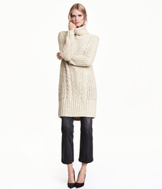 Check this out! Soft, longer-cut turtleneck sweater in a chunky pattern knit with alpaca wool content. Wide ribbing at hem. - Visit hm.com to see more.