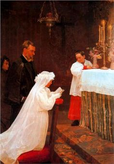 First Communion  Artist: Pablo Picasso  Completion Date: 1896 (14 years old)  Style: Realism  Period: Early Years  Genre: genre painting  Technique: oil  Material: canvas  Gallery: Museu Picasso, Barcelona, Spain