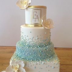 "Sugar Orchids & Custom Coloured Sugar Pearls make for a ""Beautiful Wedding Cake"" by Bobbette & Belle Elegant Wedding Cakes, Beautiful Wedding Cakes, Wedding Cake Designs, Wedding Cake Toppers, Beautiful Cakes, Amazing Cakes, Elegant Cakes, Pretty Cakes, Cute Cakes"