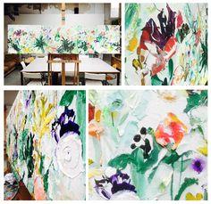 Nog t/m eind okt. iets fraais aan de muur bij Zoë, Schagchelstr. 22 in Haarlem   Botanic   200x50 cm   acryl & #palestukken   https://lnkd.in/dpYZcCr #kunst #art #haarlem #schilderij #bloemen #urbanjungle