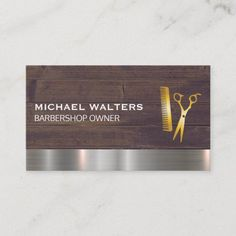 Gold Comb and Scissors Wood Metal Trim Business Card Metal Trim, Wood And Metal, Barber Business Cards, Paper Texture, Smudging, Things To Come, Writing, Being A Writer
