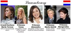 the royal ladies of Luxemburg Royal Crowns, Royal Jewels, Tiaras And Crowns, King Queen Prince Princess, Royal Families Of Europe, World Thinking Day, Daughter In Law, Casa Real, Grand Duke