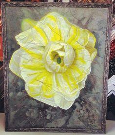Custom framed 3D paper flower using Fotiou Frames! Custom framed by FastFrame of LoDo. #art #framing #denver #flower #3d — at FastFrame of LoDo.