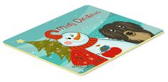 Snowman with Longhair Black and Tan Dachshund Kitchen or Bath Mat 24x36 BB1833JCMT