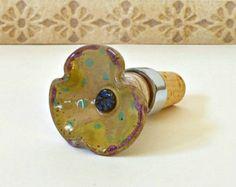 Ceramic Wine Bottle StopperPottery Wine Bottle by SoulShinePottery