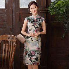 Wonderful Peony Flowers Knee Length Cheongsam Qipao Dress - Qipao - Cheongsam - Women