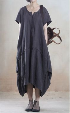 Linen Dress in Dark Gray – Lily & Co.