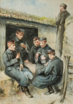 Watercolour painting with soldiers. Europeana 1914-1918, CC BY-SA