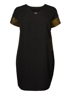 WOVEN SHORT SLEEVED PARTY DRESS, Black
