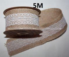 5-M-fita-Natural-juta-serapilheira-Hessian-com-guarnições-de-renda-fita-rústico-decoração-do-casamento