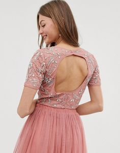 Lace & Beads floral embellished crop top co ord in terracotta | ASOS
