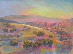 Anticipating Star Light Sundown at Diamond Tail Ranch by Meg Leonard Pastel ~ 19 x 25