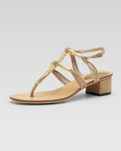 Low-Heel Thong Sandal, Cream by Gucci at Neiman Marcus.