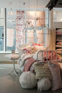 Shabby Chic bedroom with vintage wire lamp shades @Jò in Wonderland Fisher I want these!!!