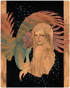Beautiful Paintings on Wood Panel by Audrey Kawasaki Audrey Kawasaki, Art And Illustration, Art Nouveau, Art Manga, Arte Pop, Wood Paneling, Beautiful Paintings, Art Fair, Painting On Wood