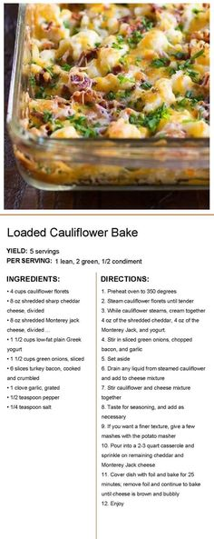 Loaded Cauliflower Casserole, Cauliflower Dishes, Baked Cauliflower, Veggie Dishes, Vegetable Recipes, Side Dishes, Beef Dishes, Medifast Recipes, New Recipes
