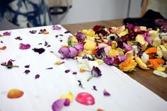 Natural Dye with Flowers | Gardenista. Great idea for kids' art class! It's non-toxic, but still pretty :)