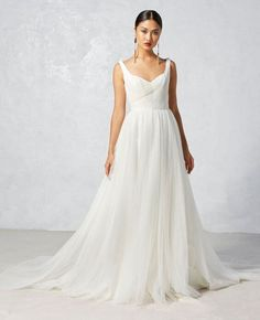 ivy aster fall 2017 bridal sleeveless with strap sweetheart neckline ruched bodice tulle skirt romantic a line wedding dress open scoop back chapel train (leila) mv -- Ivy & Aster Fall 2017 Wedding Dresses Wedding Dress Organza, Wedding Dress Necklines, Wedding Dresses With Straps, Wedding Dress Styles, Wedding Party Dresses, Tulle Wedding, Gown Wedding, Chiffon Dress, Bridal Gowns