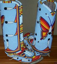 Beaded moccasins and leggings