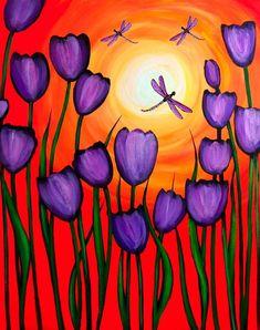 Graffiti Paintbar - Paint and Sip Studio - Art Easy Canvas Painting, Spring Painting, Spring Art, Painting & Drawing, Canvas Art, Tulip Painting, Dragonfly Painting, Acrylic Canvas, Pour Painting