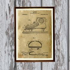 Sport poster printed on aged paper. Patent art print - handmade antique home decor. Hockey shoe print. SIZE: 8.3 x 11.7 (A4)  Paper for each print is