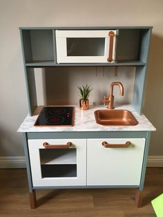 Most recent Photographs Ikea DUKTIG kitchen hack Copper marble gray Tips An Ikea youngsters' space remains to intrigue the children, since they are provided a great deal Ikea Toy Kitchen Hack, Ikea Kitchen Cabinets, Kitchen Hacks, Kitchen Countertops, Diy Kitchen, Kitchen Grey, Grey Kitchens, Cool Kitchens, Diy Karton
